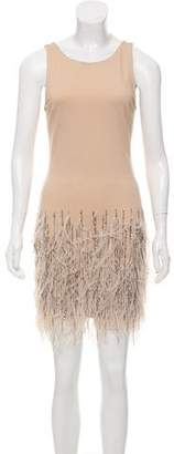Haute Hippie Feather-Embellished Mini Dress w/ Tags
