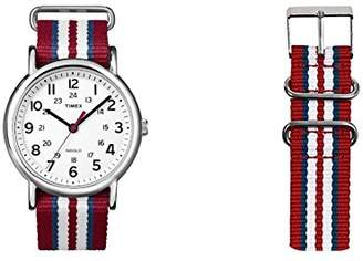 Timex Unisex Special Weekender Slip Through Quartz with Off- Dial Analogue Display and Nylon Slip Strap (Red)