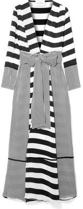 Leone we are Striped Silk Crepe De Chine Robe - White