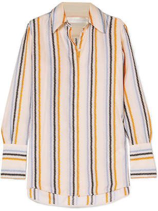 Victoria Beckham Victoria, Striped Silk-satin Shirt - Beige