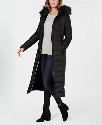 Calvin Klein Petite Faux-Fur-Trim Maxi Puffer Coat