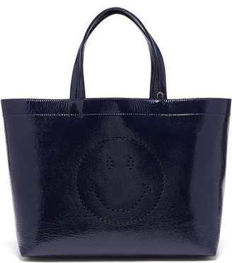 Anya Hindmarch - Smiley Patent Leather Tote - Womens - Navy