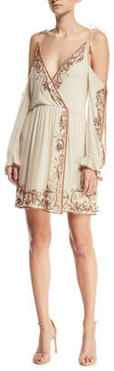 Haute Hippie Love and Other Disasters Cold-Shoulder Silk Cocktail Dress