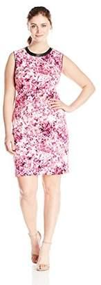 Lark & Ro Women's Plus Size Sleeveless Printed Scuba Sheath Dress