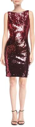 Aidan Mattox Sequin Bateau-Neck Cocktail Dress
