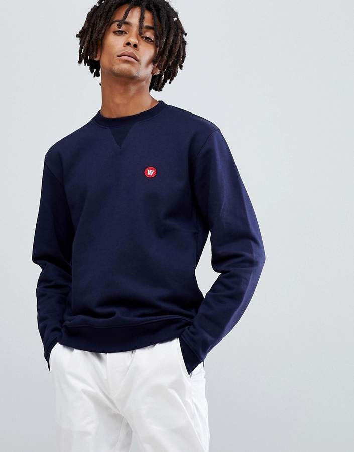 Wood Wood tye sweatshirt with small logo in navy