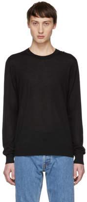 Helmut Lang Black Wool Logo Back Sweater