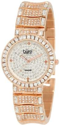Burgi Women's BUR060RG Diamond & Baguette Quartz Watch