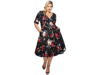 Unique Vintage Plus Size Delores Swing Dress with Sleeves