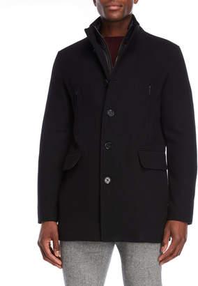 Cole Haan Bibbed Wool Overcoat