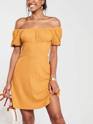 Very Ruched Shoulder Mini Dress - Mustard