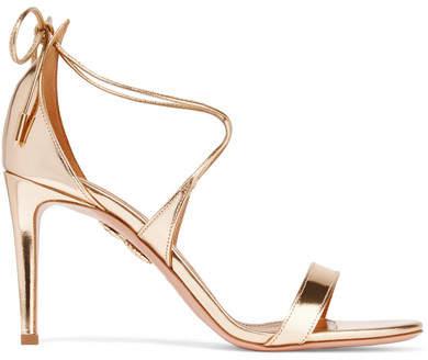 Aquazzura - Linda Mirrored-leather Sandals - Gold