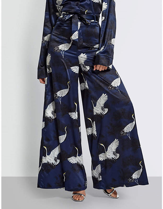 Bird-print satin trousers
