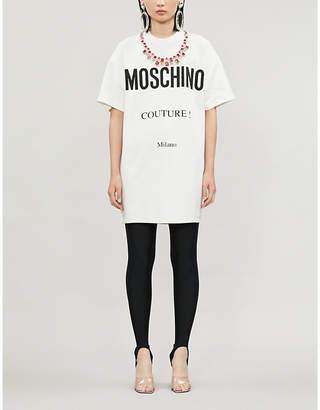 Moschino Crystal-embellished logo-print jersey mini dress