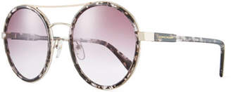 Longchamp Acetate & Metal Round Mirrored Sunglasses