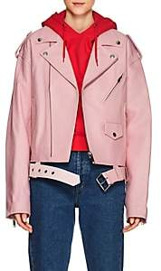 Moto Ambush Women's Leather Oversized Jacket-Pink