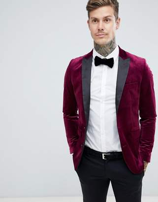 Gianni Feraud Premium Skinny Fit Velvet Blazer with Satin Collar