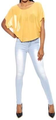 YMI Jeanswear Mustard Sheer Top