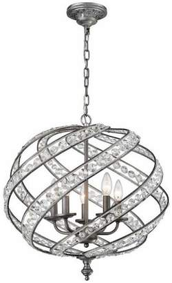 clear Elk Lighting Renaissance 21 5-Light Chandelier Weathered Zinc Crystal Glass