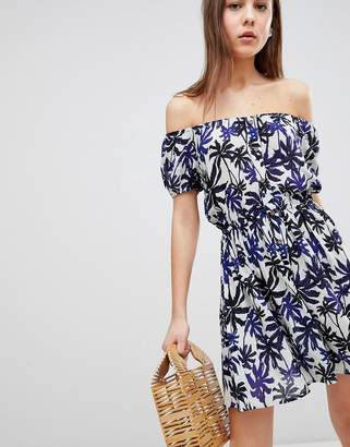 Brave Soul Zora Off Shoulder Dress in Palm Print