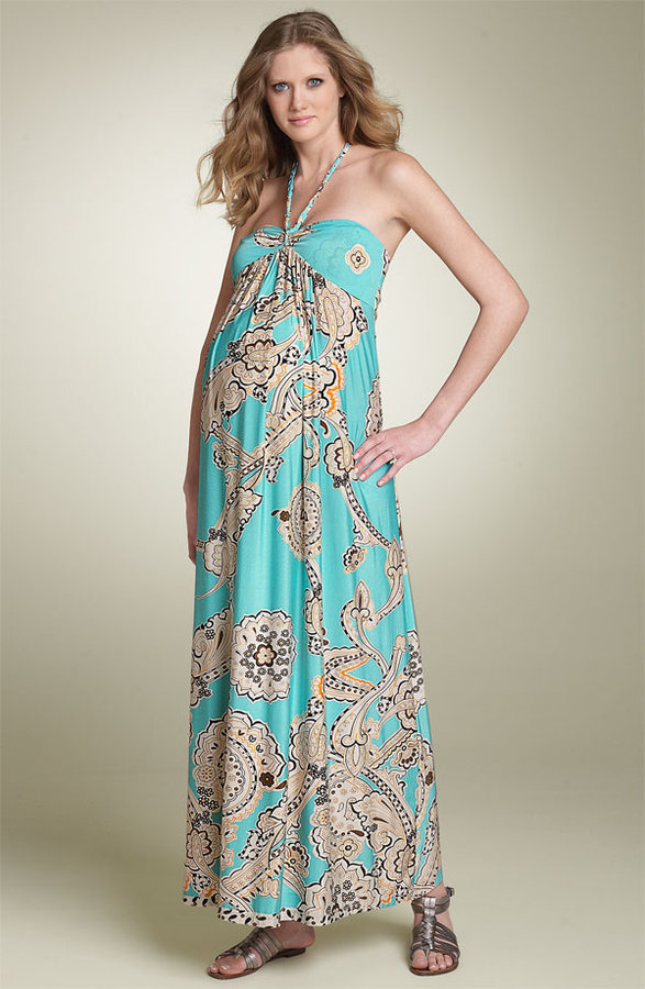 Olian Maternity Dahlia Print Maxi Dress