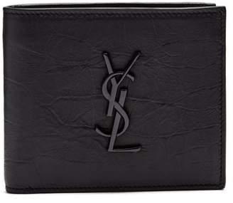 Saint Laurent - Monogram Crocodile Effect Bi Fold Leather Wallet - Mens - Black