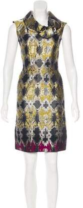 Oscar de la Renta Draped Jacquard Dress