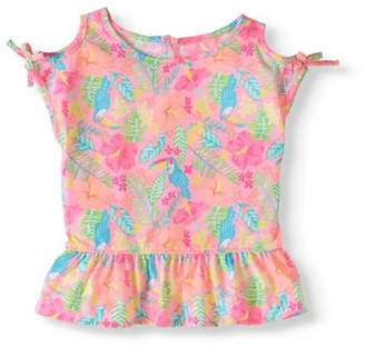Garanimals Toddler Girl Cold Shoulder Printed Peplum T-Shirt