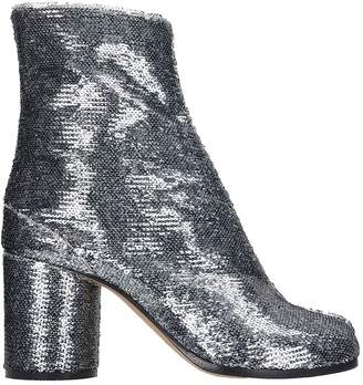 Maison Margiela Tabi Ankle Boots In Silver Leather