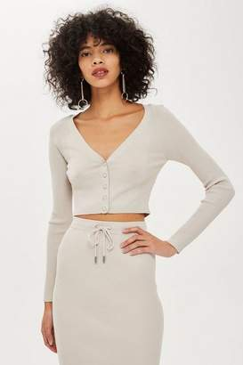 Topshop Cropped Popper Cardigan