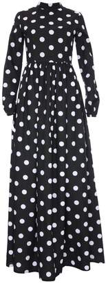 Zalinah White - Monique Black Polka Dot Maxi High Collar Dress With Long Sleeves