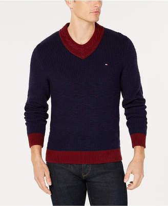 Tommy Hilfiger Men's Vince Colorblocked Cable-Knit V-Neck Sweater