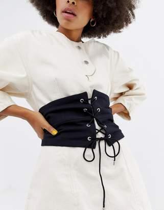 Asos Design Paneled Fabric Corset Belt