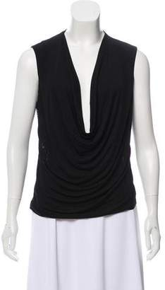 Yigal Y for Lace-Accent Plunging Neckline Top
