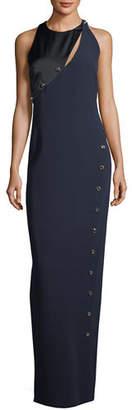 Versace Asymmetric Button-Trim Column Gown