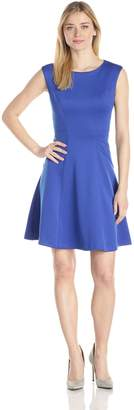 Sandra Darren Women's Cap Sleeve Solid Fit and Flare Dress