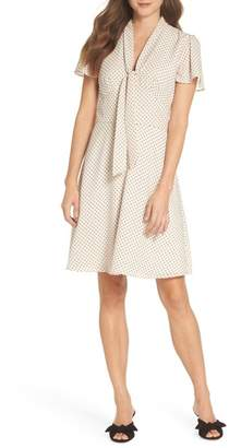Maggy London Flocked Mini Dot Tie Neck Dress (Regular & Petite)