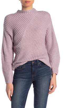 William Rast Robbin Mock Neck Ribbed Knit Sweater