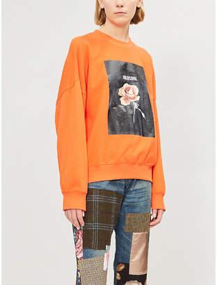 Izzue Floral box-print cotton-jersey sweatshirt