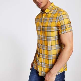 River Island Mens Yellow check slim fit short sleeve shirt