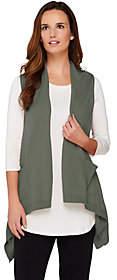 LOGO by Lori Goldstein Cotton Cashmere Vest w/Angled Pockets