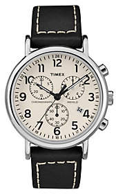 Timex Men's Weekender Black Leather Strap Chronograph Watch