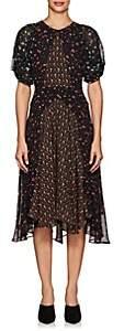 Masscob Women's Floral Silk Chiffon Midi-Dress-Black