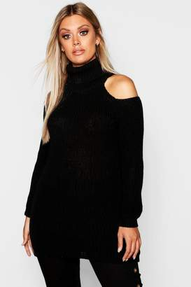 boohoo Plus Roll Neck Open Shoulder Jumper
