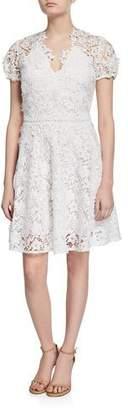 Shoshanna Santenay V-Neck Short-Sleeve Floral Lace Dress