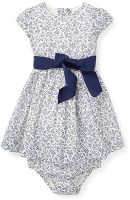 Ralph Lauren Childrenswear Fit-and-Flare Woven Floral Dress w/ Bloomers, Size 6-24 Months