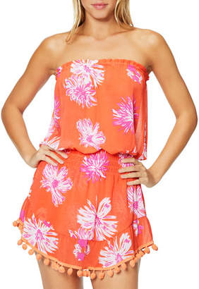 Ramy Brook Marcie Printed Strapless Short Dress with Pompoms
