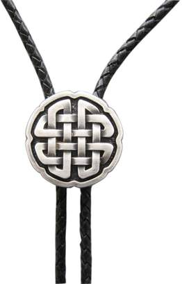 Celtic JEAN'S FRIEND Vintage Real Silver Plated Wedding Cross Knot Bolo Tie Leather Necklace