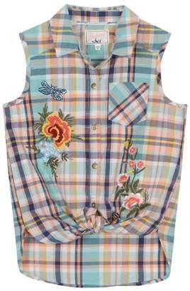 Mantaray 'Girls' Multi-Coloured Checked Sleeveless Shirt