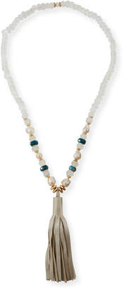 Akola Green Apatite & Pearly Bead Necklace, 36""
